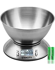 Etekcity Digital Kitchen Food Scales, Stainless Steel Weighing Cooking Scales with Detachable Bowl, 11lb/5kg, Tare Function, LCD Display, Temperature Sensor, Easy Storage, Timer Alarm, Silver