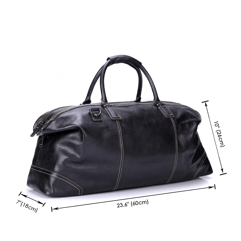 Black Sindermore Large Messenger Bag Genuine Leather Travel Duffel Bag Shoulder bag luggage Bag Weekend Bag