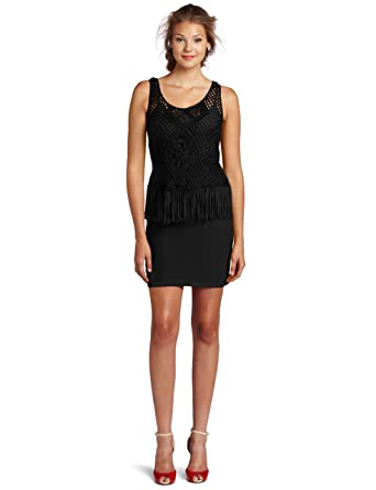 Cluny Womens Fringe Dress Black