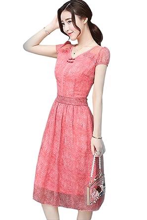 fb5b6ea777 Unomatch Women Chiffon Lace Sleeves Party Dress Pink (Large