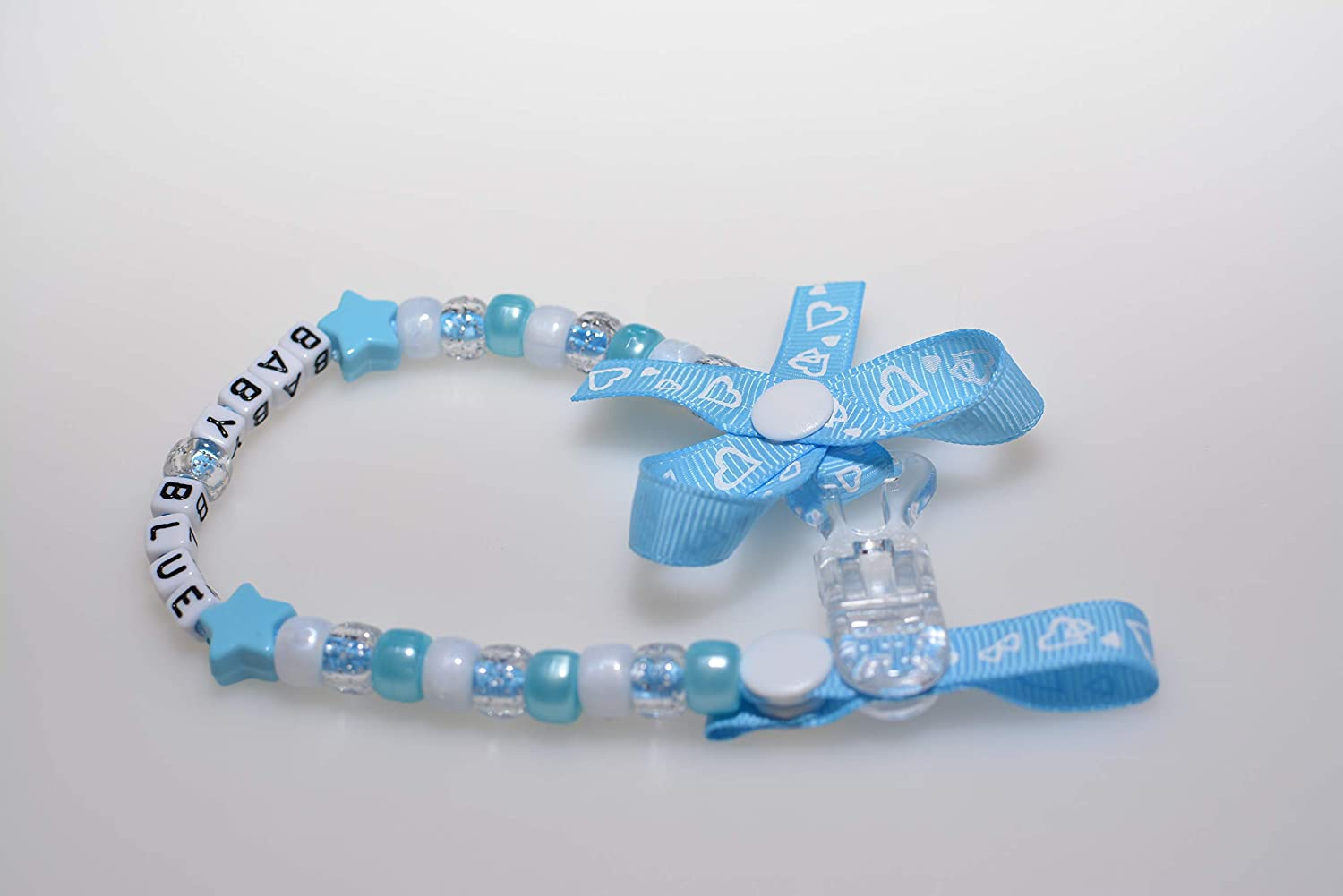 Any Name Dark Blue, Without Bow Personalised Dummy Clip Pacifier Chain Strap for Baby Girl Baby Boy by Heart Shaped Ribbon in Baby Pink and Baby Blue Colours with or Without Ribbon Bow