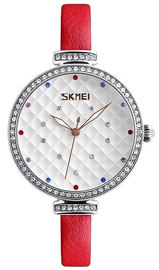 Relojes de cuero para mujer, movimiento de cuarzo, relojes con diamantes de imitación,