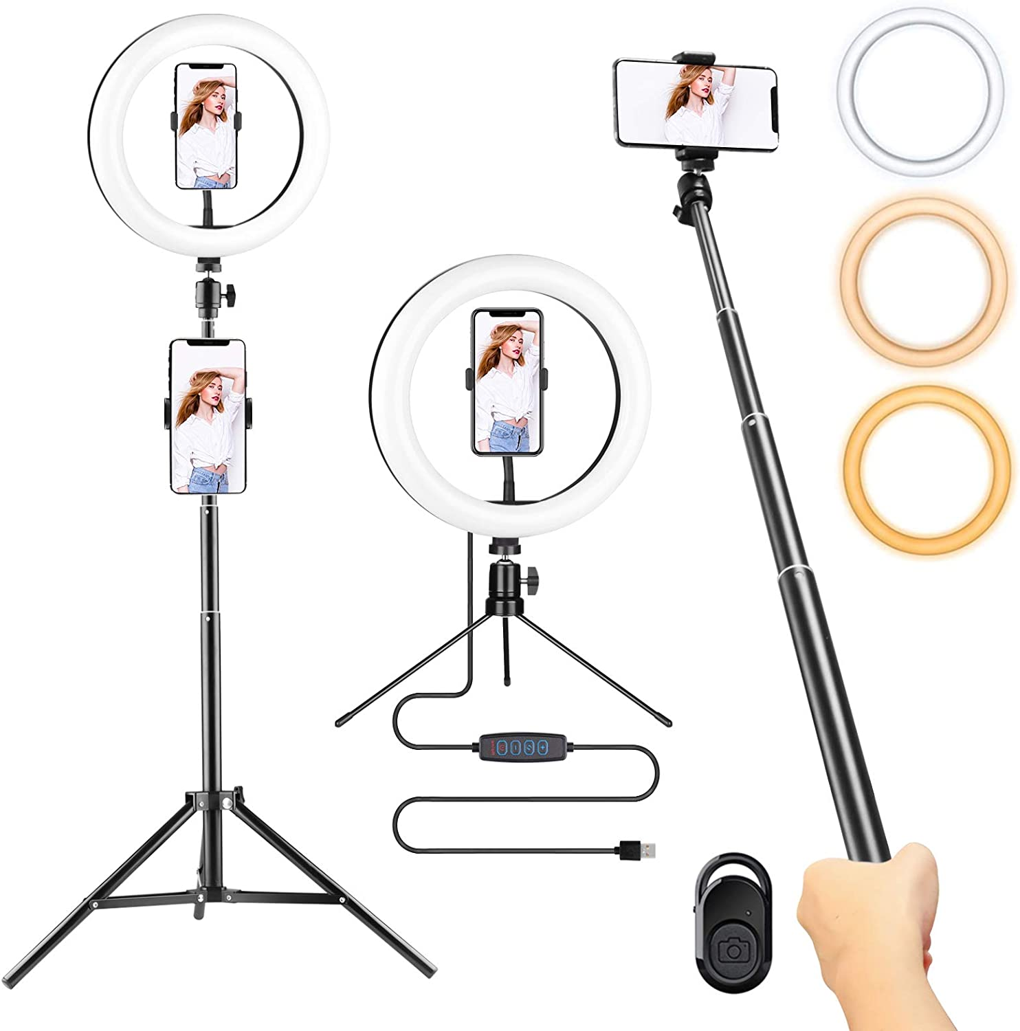 "10.2"" Ring Light with Stand Adjustable Floor and Desk Tripod ,Bluetooth Selfie Stick 2 in 1 , 3 Colors and 10 Levels Dimming 3 Types Phone Holder for Photography ,Women Makeup, Live Stream,Study"