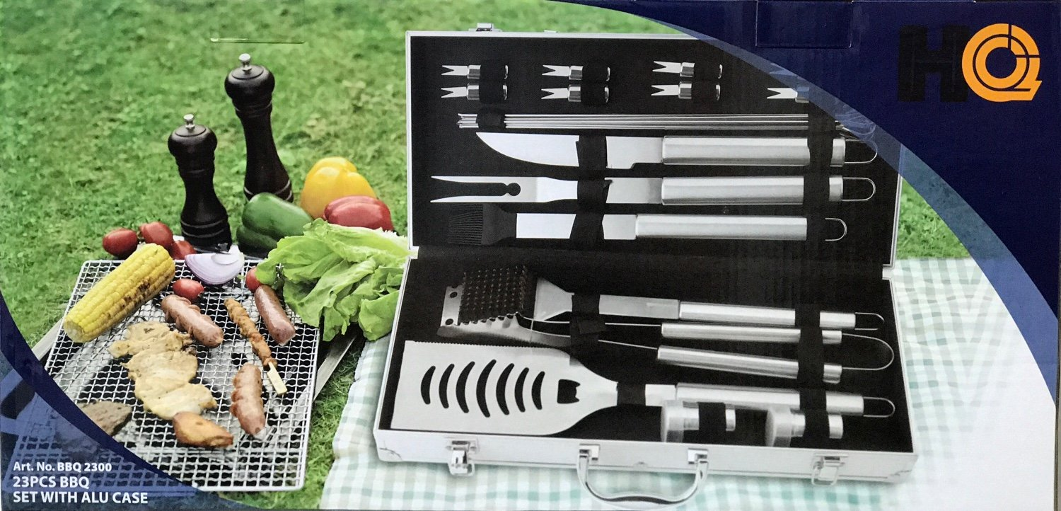 The Great Outdoor 23 Piece Stainless Stainless Steel Grilling Accessories Set Complete Tool Kit with Scraper, Brush, Meat Knife, Skewers More