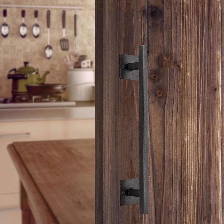 12 Heavy Duty Steel Black Rectangular Sliding Door Pull Handle Rustic Farmhouse Decor Homode Barn Door Handle