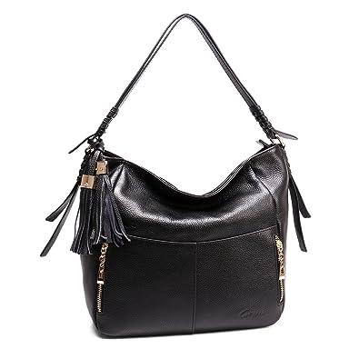 1590fbd6b12 Geya Women Hobo Bags Leather Tote Shoulder Handbags Large Purses for Lady  Top Zip Closure with Tassel Odornment