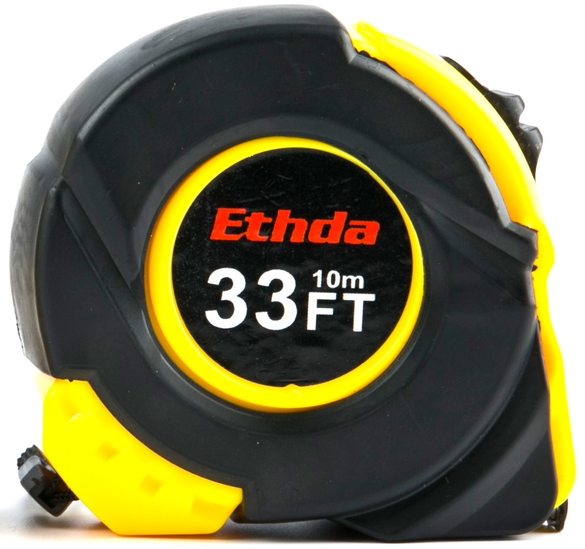 ETHDA Measuring Tape, Easy to Read Ruler,Retractable,Heavy Duty,Magnetic Hook,Sturdy Blade,Power Lock,Clip and Strap,Imperial Inch Metric Scales,Shock Absorbent Solid Rubber Case,Yellow 33 Foot (10m)
