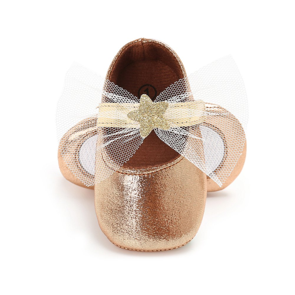 fa41c27ec samber zapatos de piel sintética Bebé Aprendizaje Caminar Zapatos para bebé  suave parte inferior zapatos Bebé Niñas Princesa zapatos con lazo champán  ...