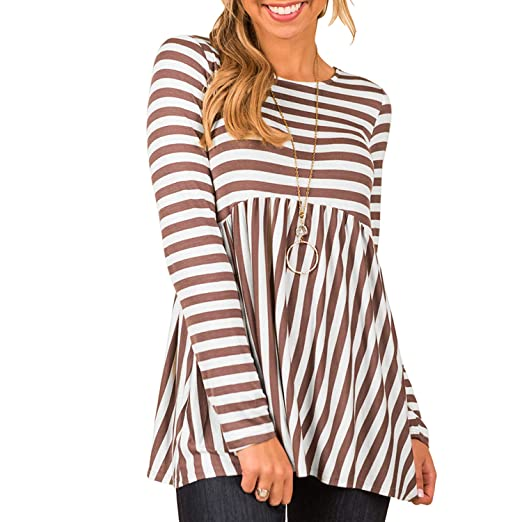 Onelk Women T Shirts Long Sleeve Striped Empire Waist Casual Blouses
