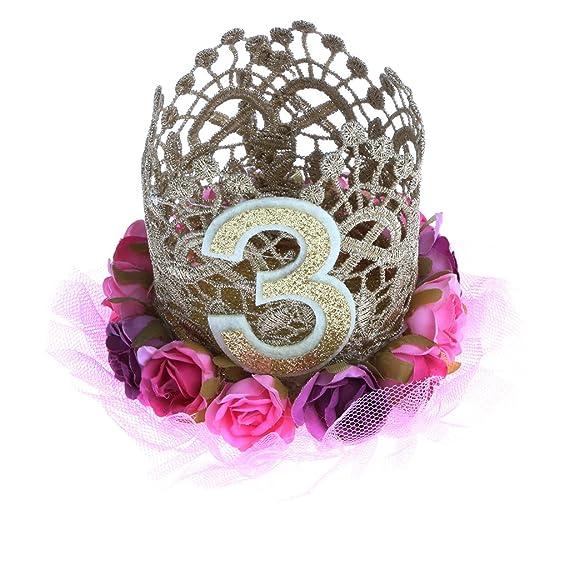 MagiDeal Corona de Flor de Cordón para Fiesta de Cumpleaños de Niños Forma de Números Accesorio de Cabello de Bebé - # 3: Amazon.es: Ropa y accesorios