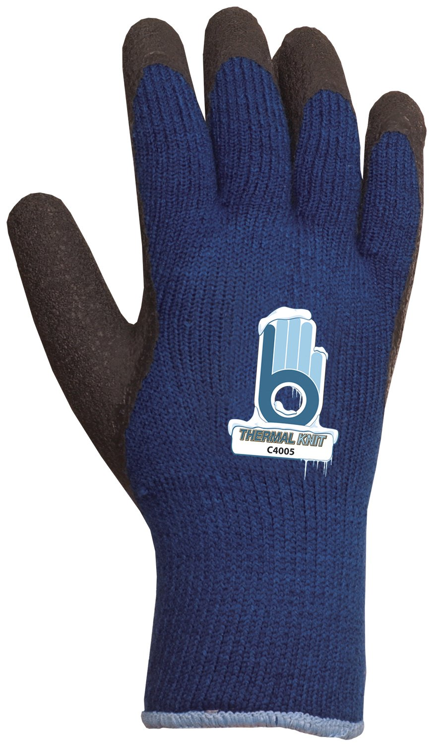 Bellingham C4005M Extra Heavy-Duty Insulated Thermal Knit Work Glove, Heavy-Duty Acrylic Liner and Black Rubber Palm, Medium, Blue