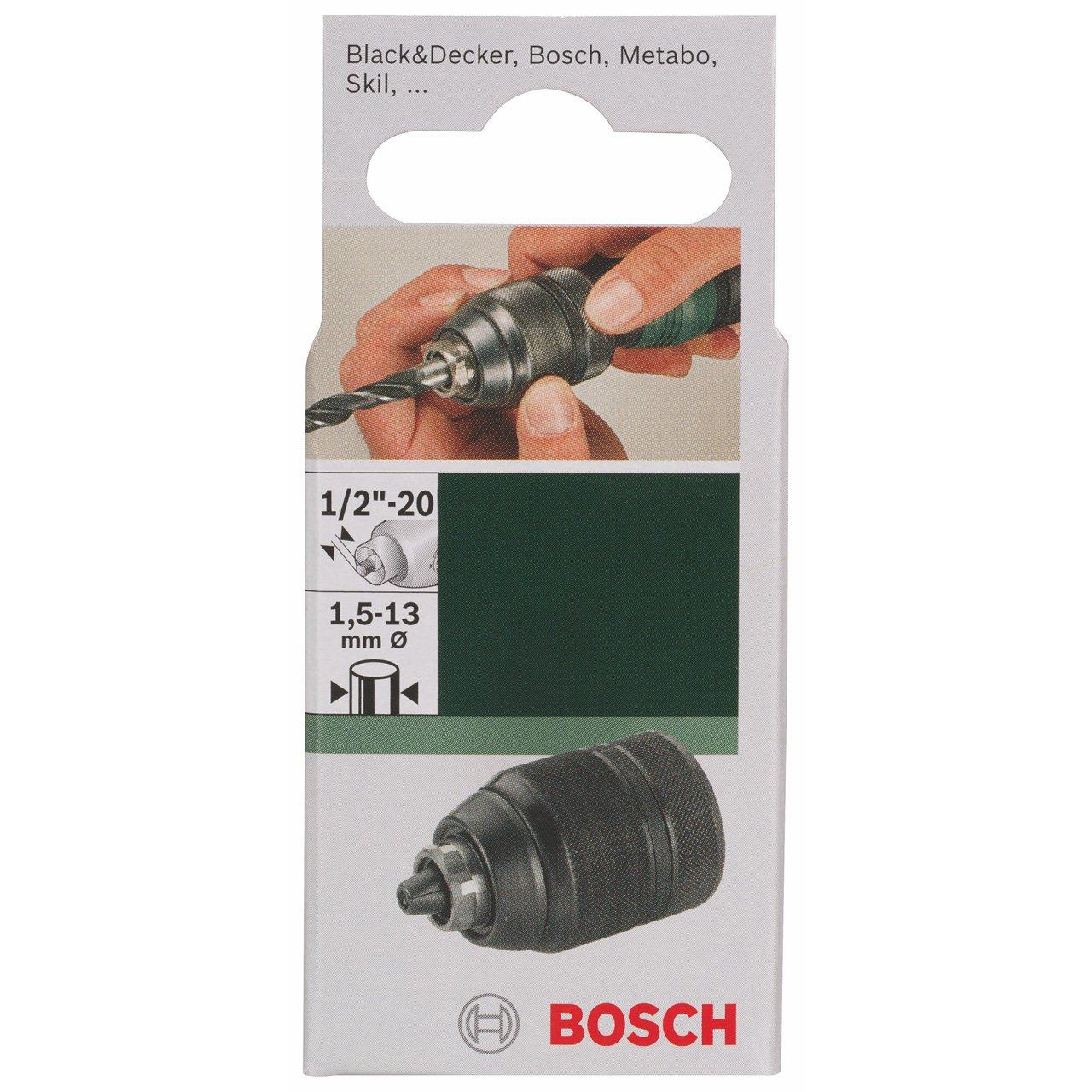 Bosch 2609255704 Heavy Duty 1.5-13mm 1//2-inch x 20-Thread Keyless Chuck with Locking Mechanism
