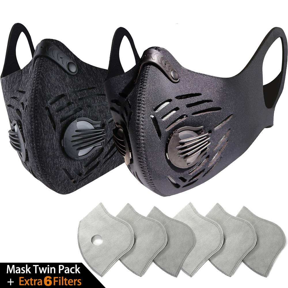 BASE CAMP Dust/Pollution Mask - Activated Carbon Dustproof Mask with N99 Filters | Neoprene Air Pollution Mask for Allergy Woodworking Mowing Construction Running by BASE CAMP (Image #1)