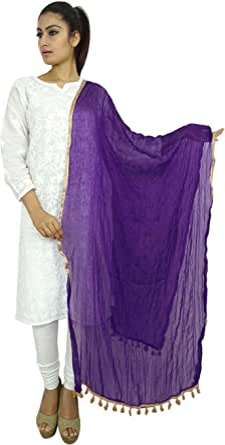 Indian Neck Wrap Dupatta Chiffon Blend Long Stole Chunni Throw Tassel Scarf