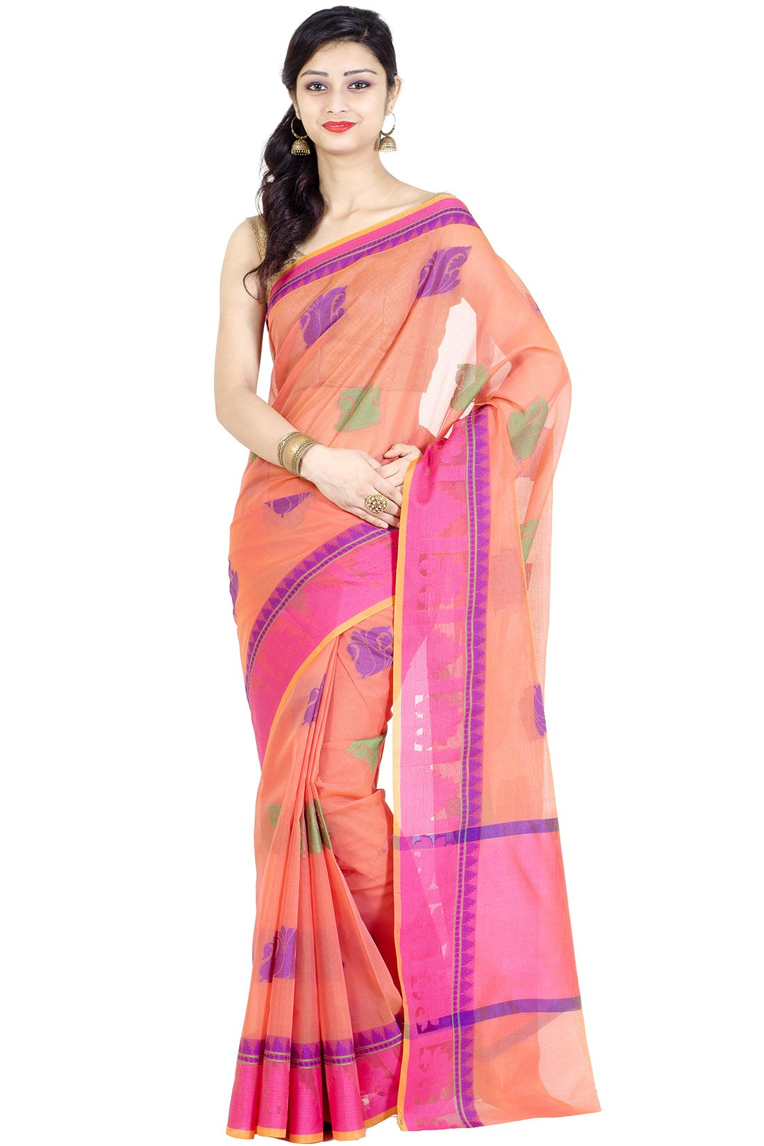 Chandrakala Women's Peach Banarasi Cotton Blend Saree