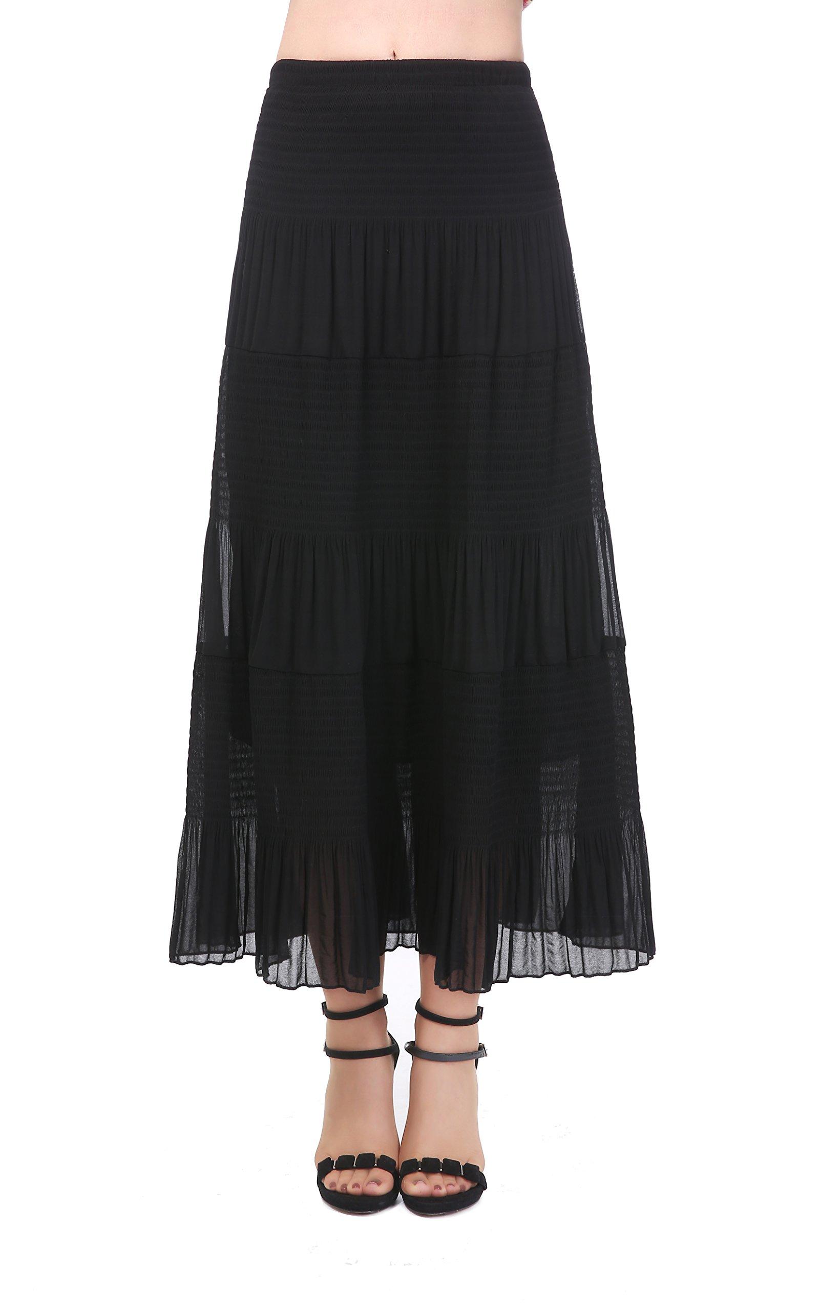 NASHALYLY Long Chiffon Skirts, Women's Bohemian Floral Print Pleated High Waist Beach Skirt (M, Black)