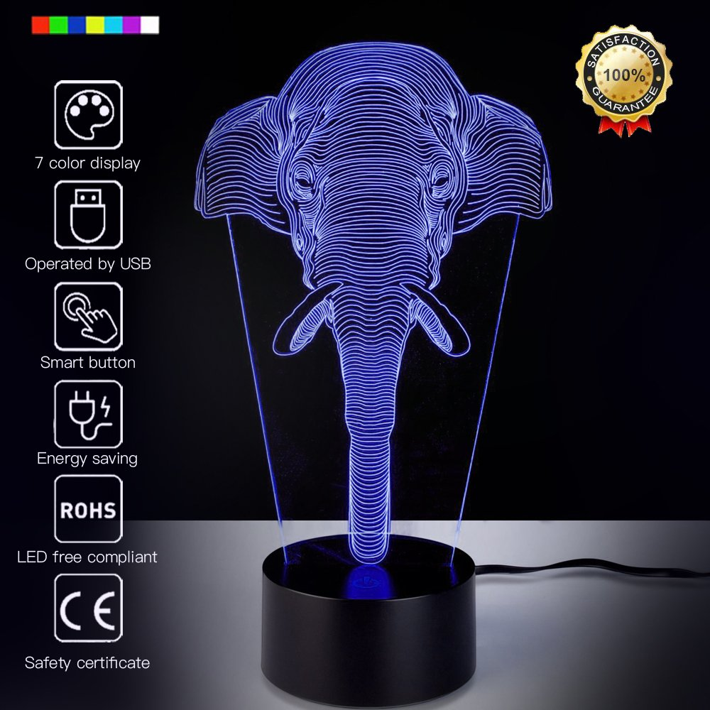 Elephant 3D Night Light Animal Beside Lamp Help Kids Fell Safe at Night 7 Colors Change Decor Perfect Birthday Gift for Kids Great Toy Gift Idea for Kids (Elephant)