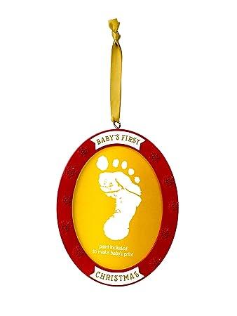 Lil Peach Babys Handprint//Footprint Photo Holiday Keepsake Ornament Red//Gold