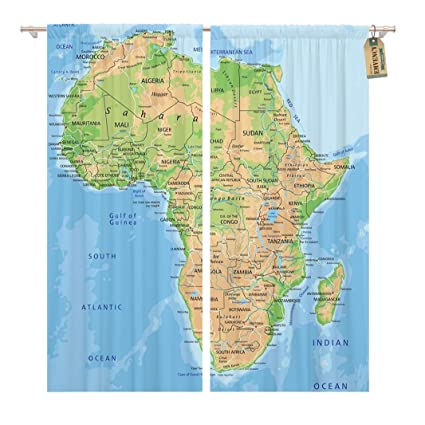 Africa Physical Map Madagascar.Amazon Com Golee Window Curtain Madagascar High Detailed