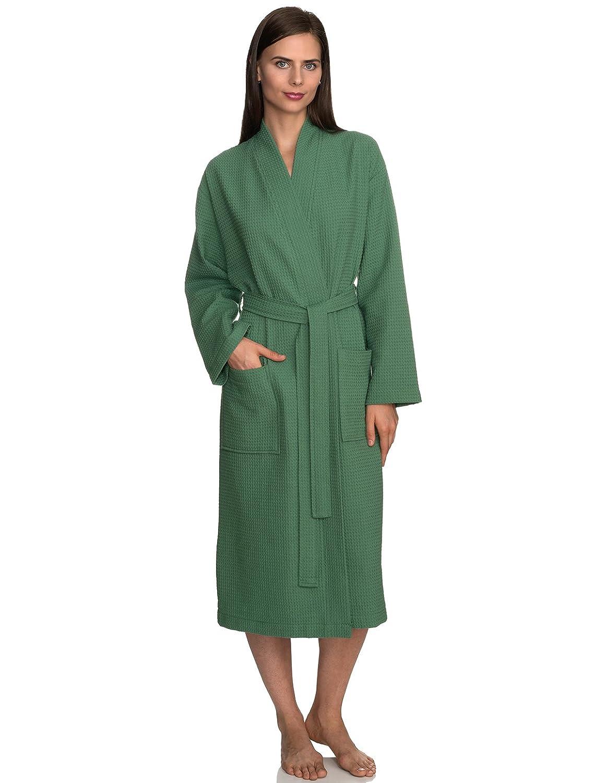 Deep Grass Green TowelSelections Waffle Weave Robe Kimono Spa Bathrobe Made in Turkey
