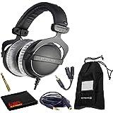 Beyerdynamic DT 770 Pro 250 Ohm Closed-Back Studio Mixing Headphones Bundle -Includes- Soft Case, Headphone Splitter and Exte