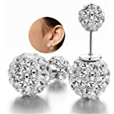 DIB Fashion Jewelry Double Sided Rhinestone Bling Crystal Balls Tribal Silver Plated Stud Earring