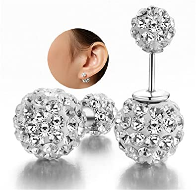 DIB Fashion Jewelry Silver Plated Double Sided Rhinestone Crystal Balls  Tribal Stud Earring 10mm