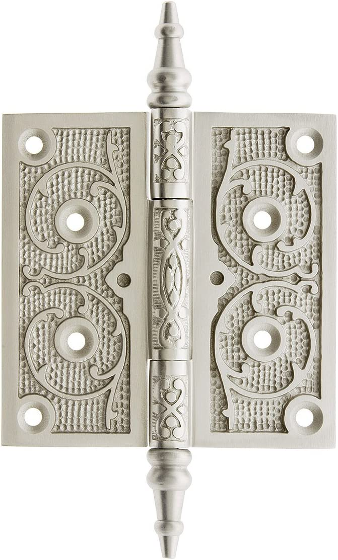 House of Antique Hardware R-04DE-PI4040-AB Cast Iron 4 Steeple Tip Hinge with Decorative Vine Pattern in Antique Brass