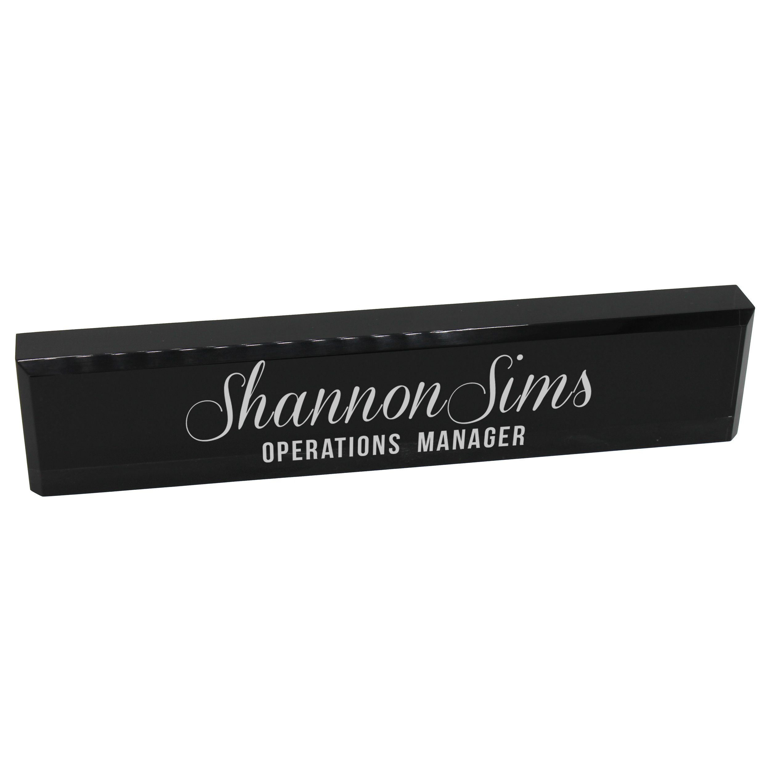 Personalized Desk Wedge Name Plate - Custom Engraved Business Gifts (Black Acrylic)