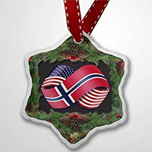 BYRON HOYLE Christmas Ornament Friendship Flags USA and Norway Christmas Ornaments Pandemic Xmas Decor Wedding Ornament Holiday Present