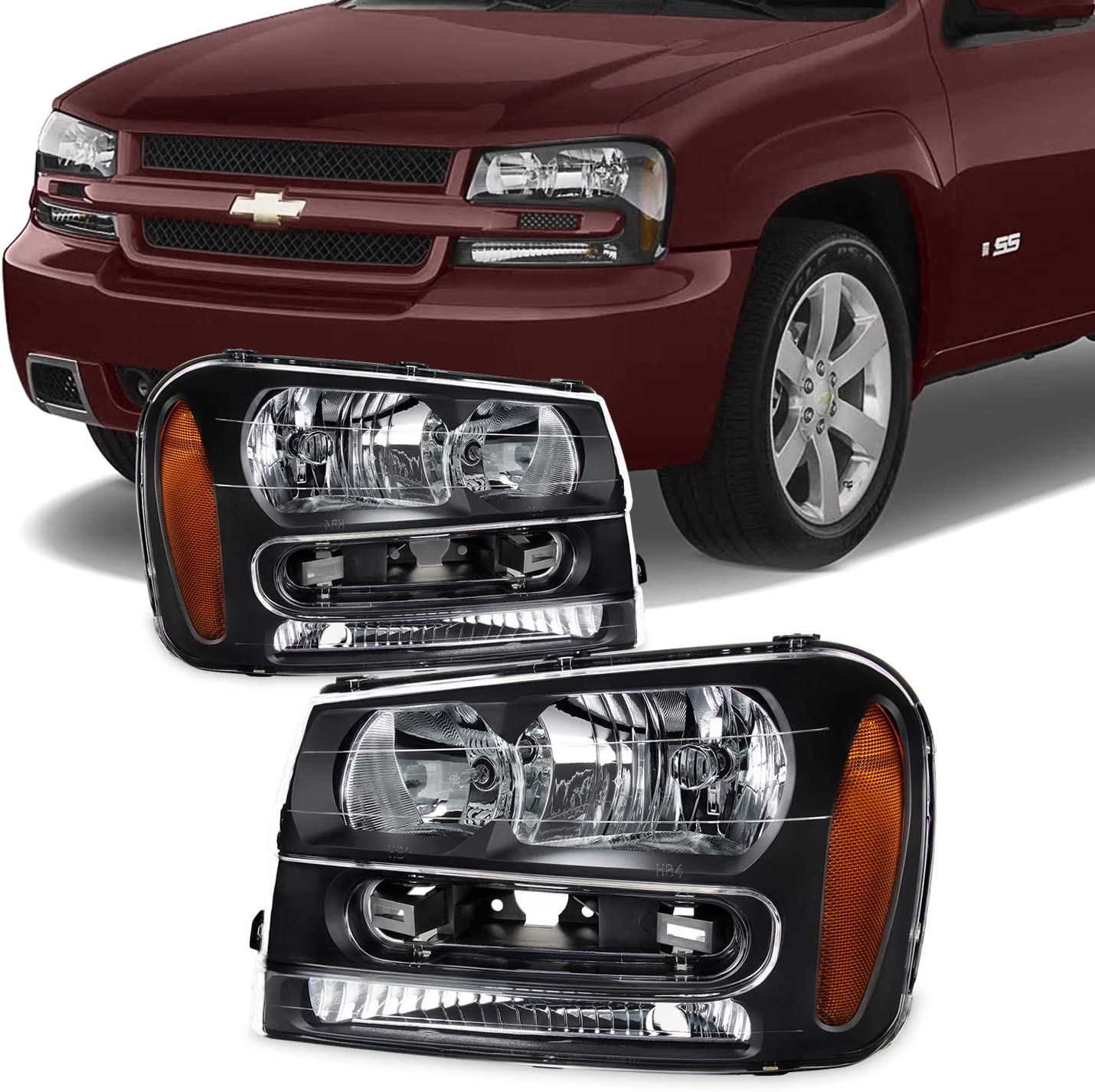 2002-2009 CHEVY TRAILBLAZER CRYSTAL REPLACEMENT STYLE HEADLIGHT LAMP CHROME
