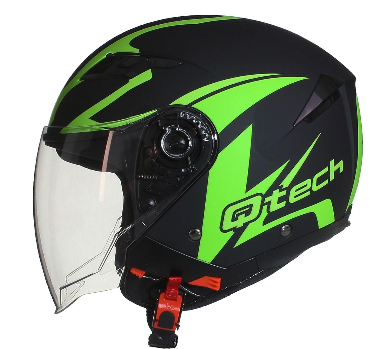 Casque de moto FACE OUVERTE - Pare Soleil Interne - JET Helm - Double Visière Scooter Argenté - XL (61-62cm) Qtech