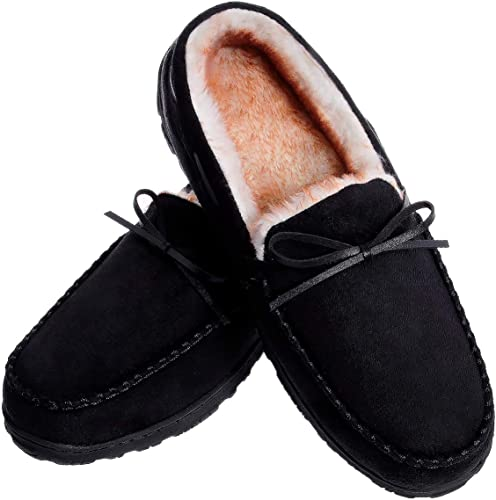 MIXIN Mens Winter Warm House Memory Foam Cozy Casual Moccasin Slip on Slippers Non Slip Flats Shoes for Men Indoor