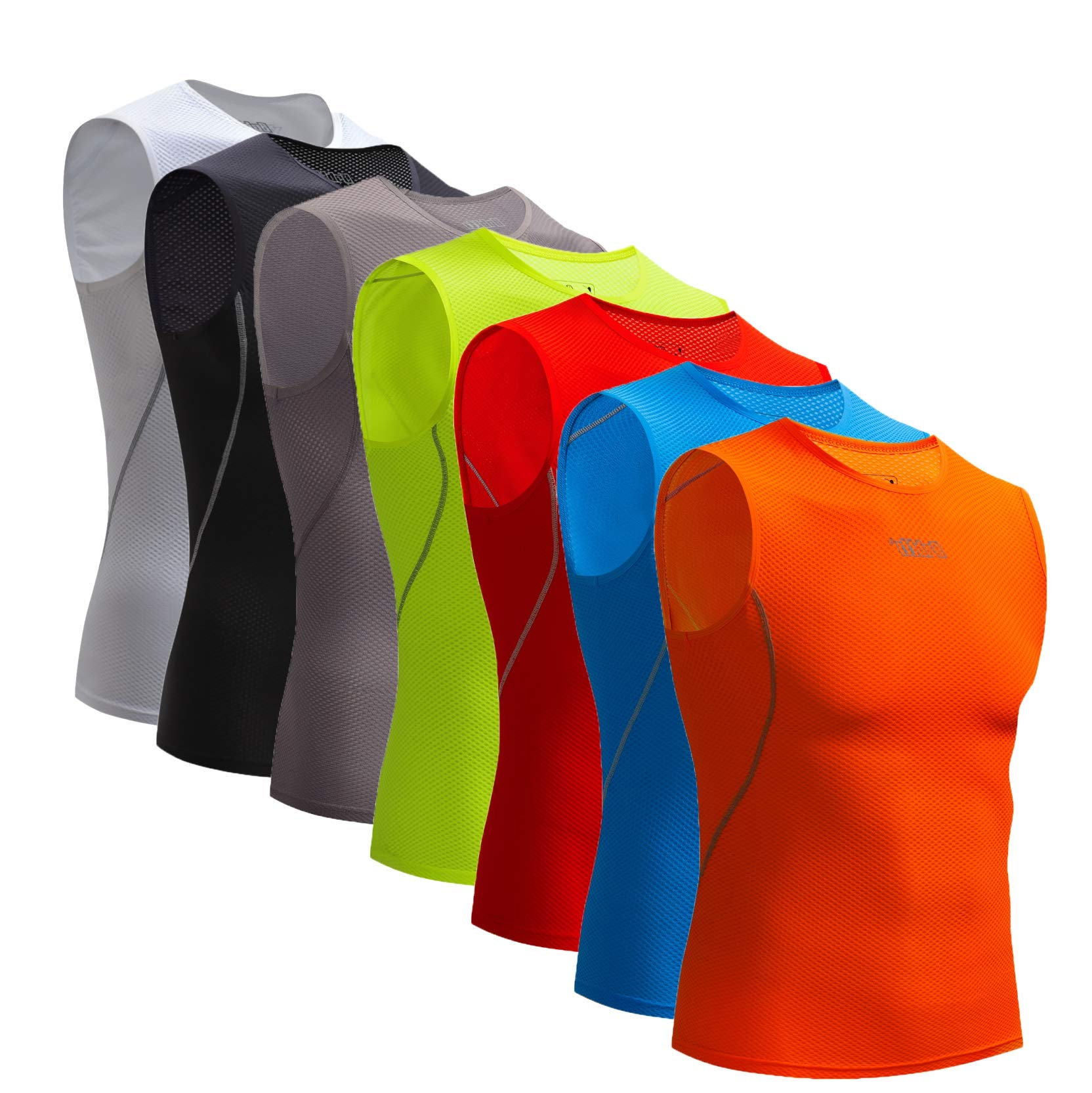 Bpbtti Men's Sleeveless Cycling Base Layer Bike Undershirt,Breathable,Superlight and Moisture Wicking (1 Pack Orange, Small)