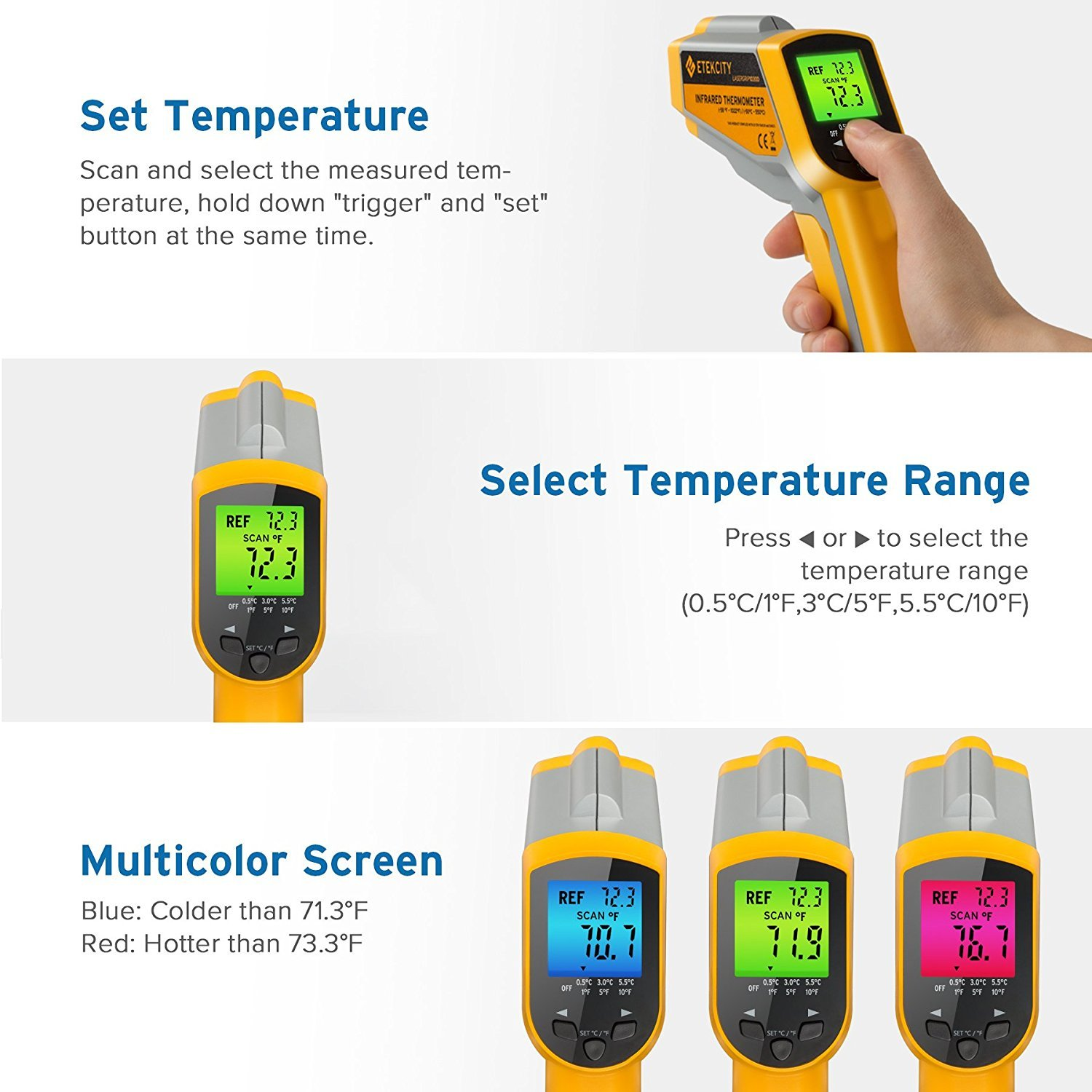 Etekcity Lasergrip1030D Infrared Thermometer Digital Dual Laser Temperature Gun Non-contact with Temperature Filtering -58℉~1022℉ (-50℃ ~ 550℃) by Etekcity (Image #2)