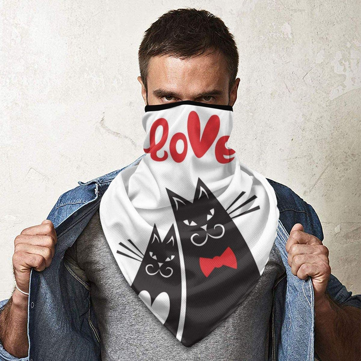 Valentines Day Card Cats Heart Neck Gaiter Warmer Windproof Mask Balaclava Face Mask Sports Mask For Outdoor Men And Women Free UV Customized
