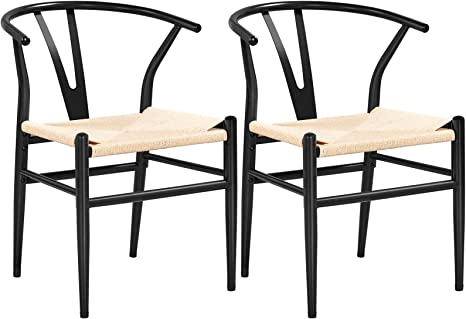 Yaheetech Set of 2 Weave Arm Chair Mid-Century Metal Dining Chair Y-Shaped Backrest Hemp Seat, Black