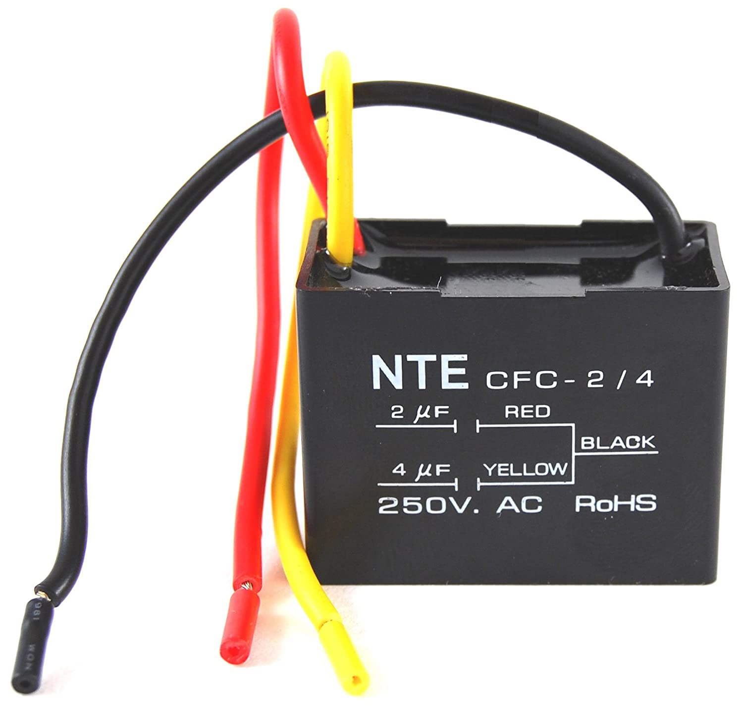 Nte Electronics Cfc 2 4 Series Polyester Ceiling Fan Capacitor Wiring A 3 Wire 125 250 Vac 20 40 F Capacitance Vehicle Amplifier Capacitors