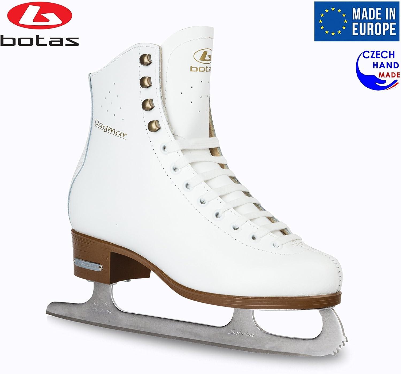 Botas – Model Dagmar Made in Europe Czech Republic Figure Ice Skates for Women, Girls, Kids Sabrina Blades White Color