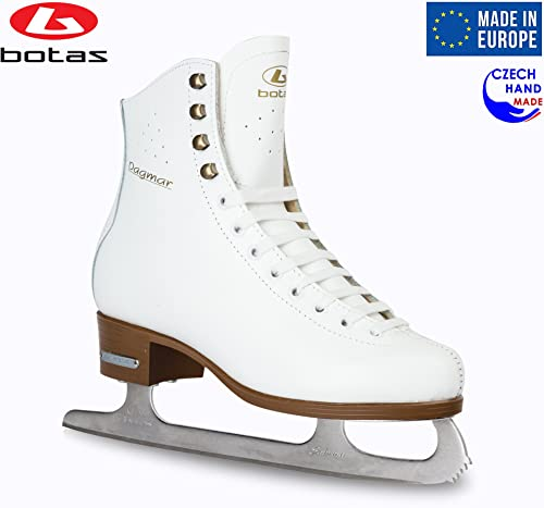 Botas – Model Dagmar Made in Europe Czech Republic Figure Ice Skates for Women, Girls, Kids Sabrina Blades White Color