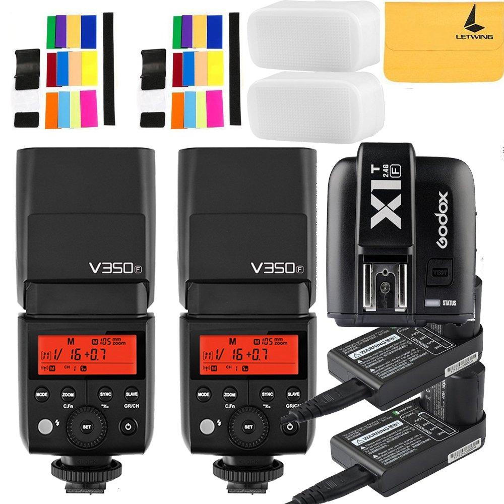 Godox V350F TTL 2.4G 2X Camera Flash with Built-in Rechargeable 7.2V/2000mAh Li-ion Batter,Godox X1T-F Flash Trigger for For Fuji Camera