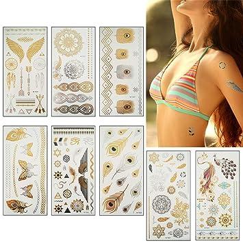 Amazon Com Temporary Metallic Henna Tattoos Mandala Mehndi Boho