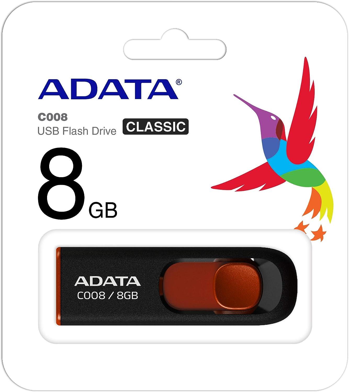 Black//Red BRAND NEW ADATA C008 4GB USB 2.0 Retractable Capless Flash Drive