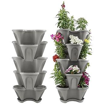 Amazon Com Houseables 5 Tier Planter Stackable 28 H X 12 W