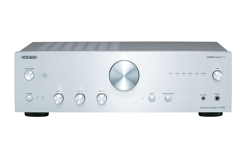 Amplificador esterero integrado color plata Onkyo A-9030-S 65 W por canal, 5 entradas anal/ógicas