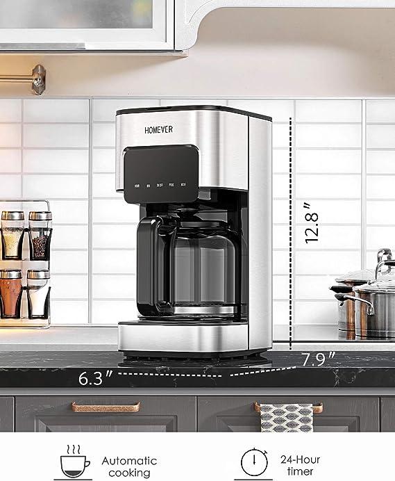 HOMEVER Cafetera con filtro 12 tazas con cafetera, temporizador ...