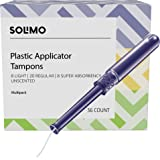 Amazon Brand - Solimo Plastic Applicator Tampons, Multipack, Light/Regular/Super Absorbency, Unscented, 36 Count
