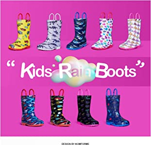 K KomForme Kids Adorable Printed Rain Boots with Easy-on Handles