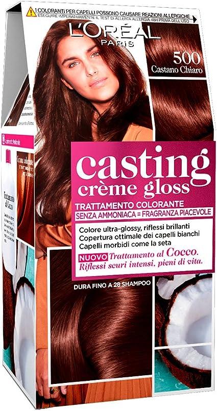LOréal Paris Casting Creme Gloss, tratamiento colorante para el cabello, sin amoniaco para una fragancia agradable. Castano Chiaro 500