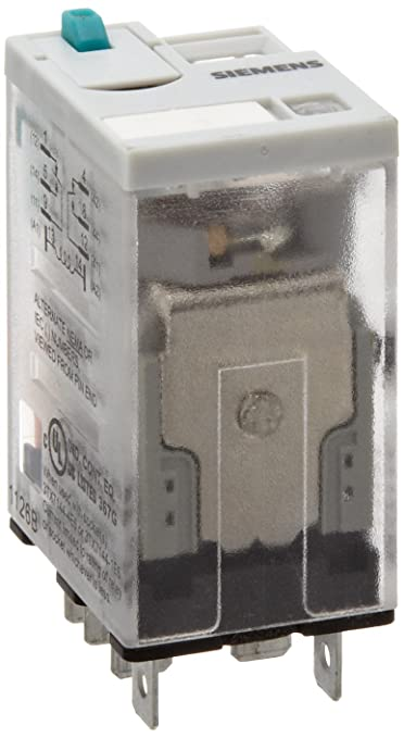 Siemens 3TX7111-3LC03 Premium Plug In Relay LED Square Base 24VDC Coil Voltage Lock Down Door Narrow Mechanical Flag 10A Contact Rating DPDT Contacts Push To Test